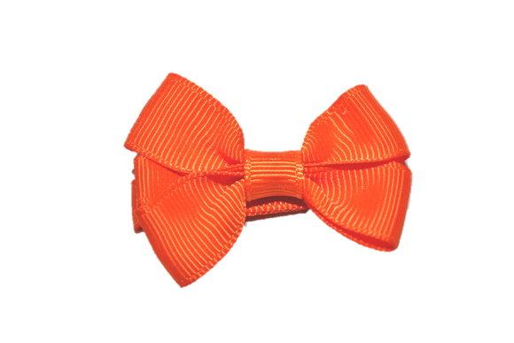 Orange Tiny Hair Bow Clip