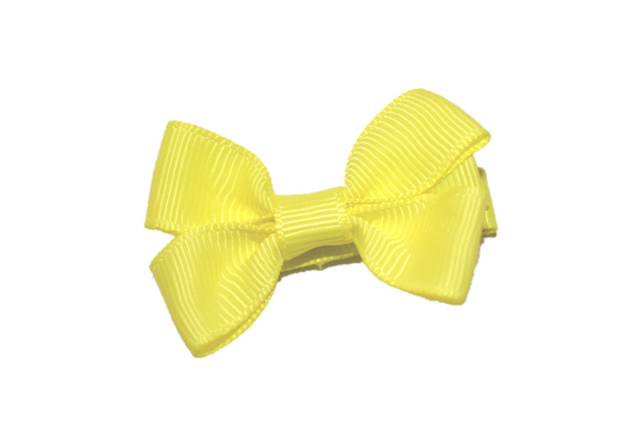 Bright Yellow Tiny Hair Bow Clip - Dream Lily Designs