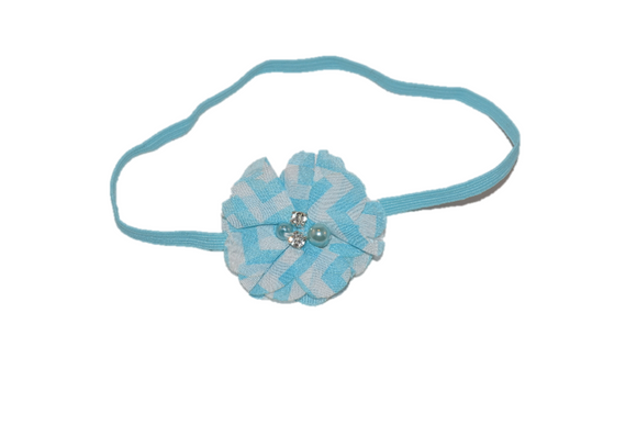 Blue Chevron Single Skinny Chiffon Headband - Dream Lily Designs