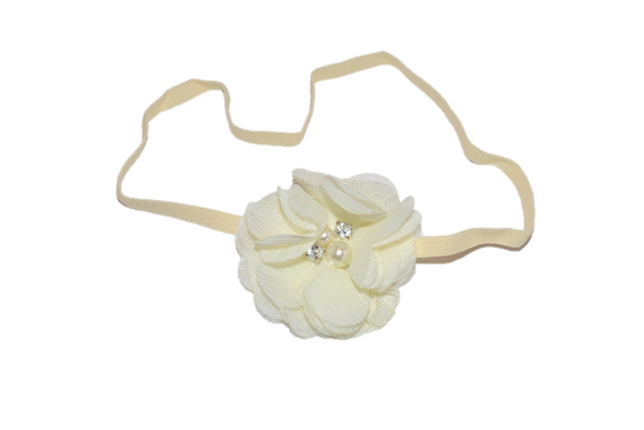 Cream Single Skinny Chiffon Headband - Dream Lily Designs