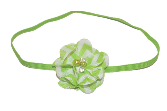 Green Chevron Single Skinny Chiffon Headband - Dream Lily Designs