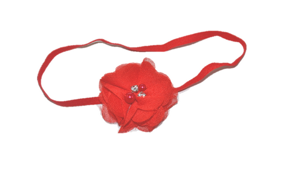 Red Single Skinny Chiffon Headband - Dream Lily Designs