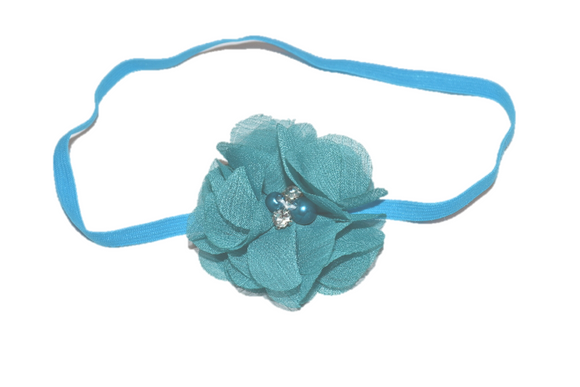 Turquoise Single Skinny Chiffon Headband - Dream Lily Designs