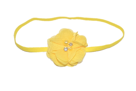 Yellow Single Skinny Chiffon Headband - Dream Lily Designs