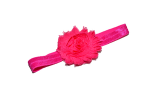 Hot Pink Shabby Flower Headband - Dream Lily Designs