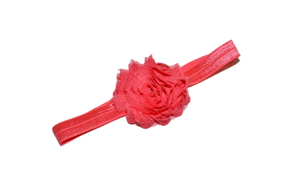 Coral Shabby Flower Headband - Dream Lily Designs