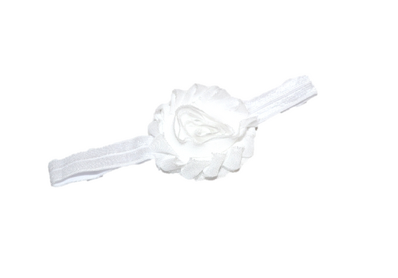 White Shabby Flower Headband