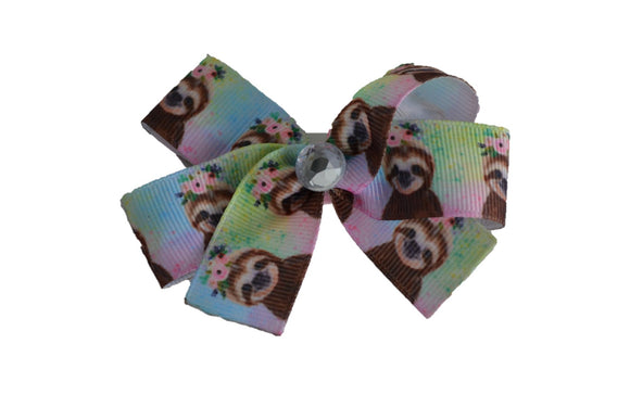 1 Inch Sloth Pattern Bow (Animal) - Dream Lily Designs