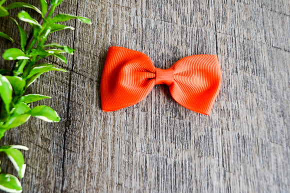 Bright Orange Small Bow Tie Hair Bow Clip - Dream Lily Designs