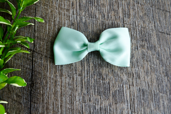 Mint Small Bow Tie Hair Bow Clip - Dream Lily Designs