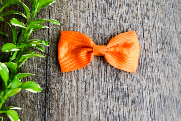 Orange Small Bow Tie Hair Bow Clip - Dream Lily Designs