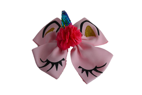 Light Pink with Hot Pink flowers Large Unicorn Clip - Dream Lily Designs