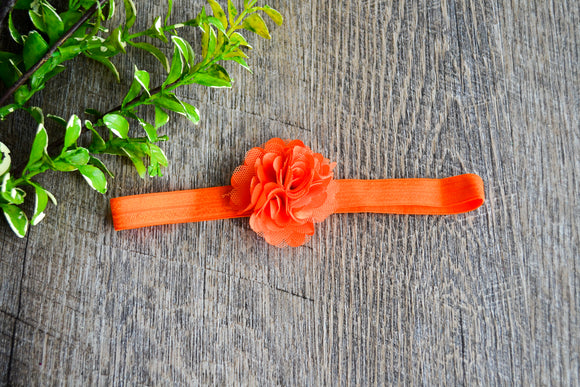 Small Puff Flower Headband - Orange - Dream Lily Designs