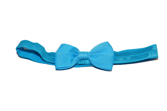 Bright Blue Bowtie Headband - Dream Lily Designs