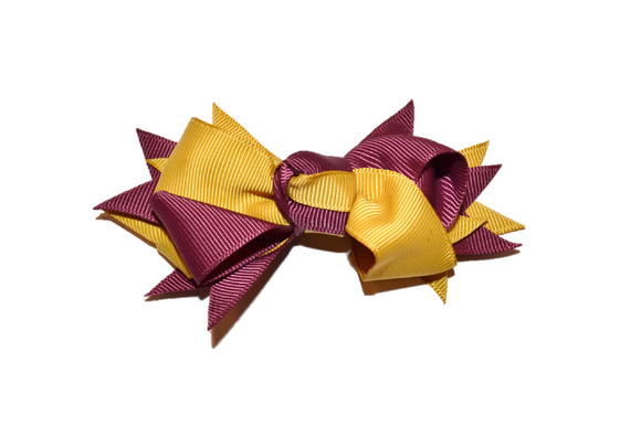 Maroon Gold Boutique School Spirit Hair Bow - Dream Lily Designs