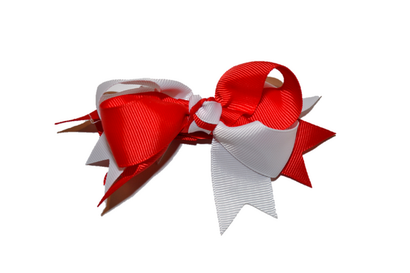 Red White Boutique School Spirit Hair Bow - Dream Lily Designs