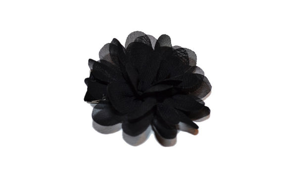Small Chiffon Flower Hair Clip - Black