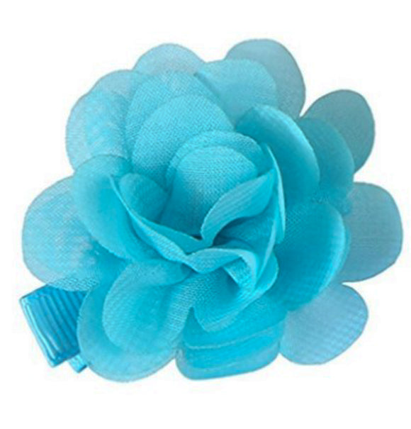 Small Chiffon Flower Hair Clip - Light Blue
