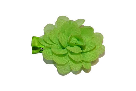 Small Chiffon Flower Hair Clip - Lime Green