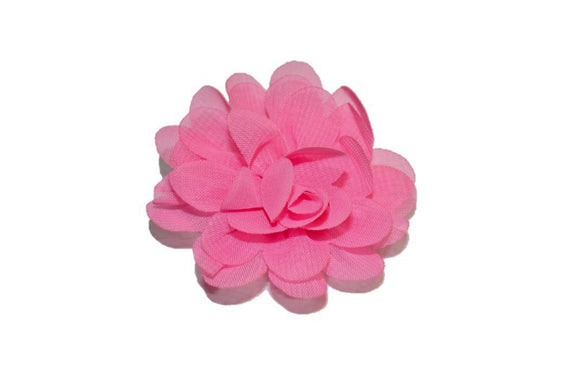 Small Chiffon Flower Hair Clip - Bubblegum Pink