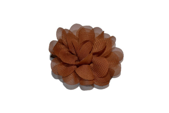 Small Chiffon Flower Hair Clip - Brown