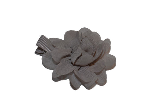 Small Chiffon Flower Hair Clip - Grey - Dream Lily Designs