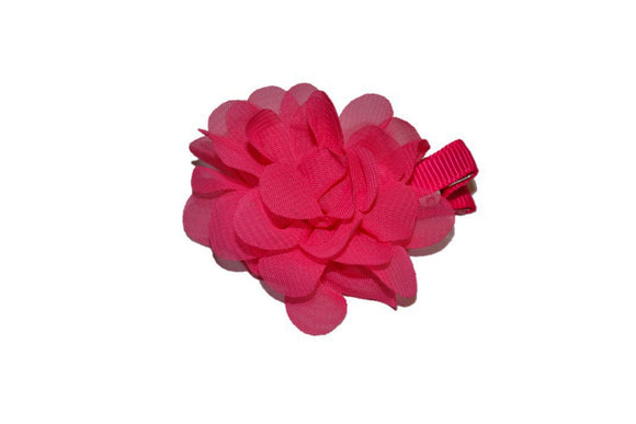 Small Chiffon Flower Hair Clip - Hot Pink