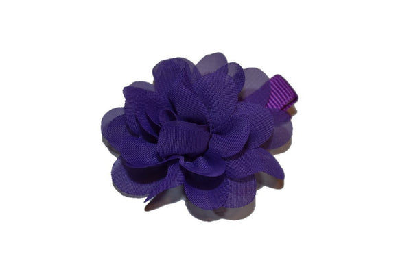Small Chiffon Flower Hair Clip - Dark Purple