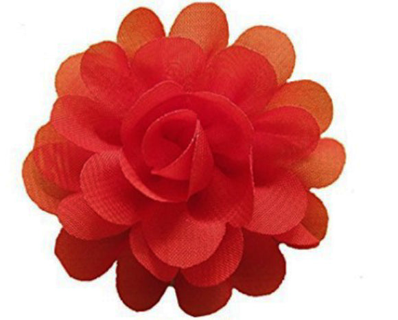 Small Chiffon Flower Hair Clip - Red