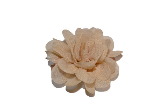 Small Chiffon Flower Hair Clip - Tan