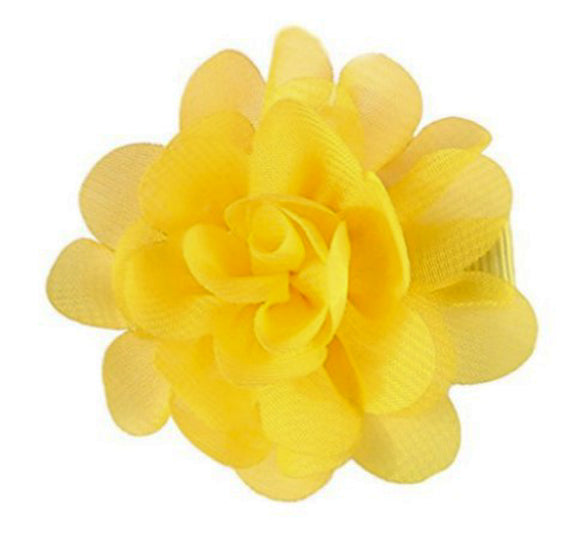 Small Chiffon Flower Hair Clip - Yellow