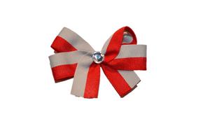 Red Grey Striped Bow (Stripes and Chevron) - Dream Lily Designs