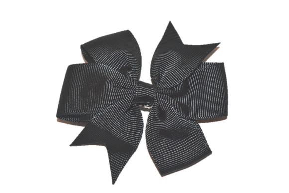 Black Pinwheel Hair Bow Clip - Dream Lily Designs