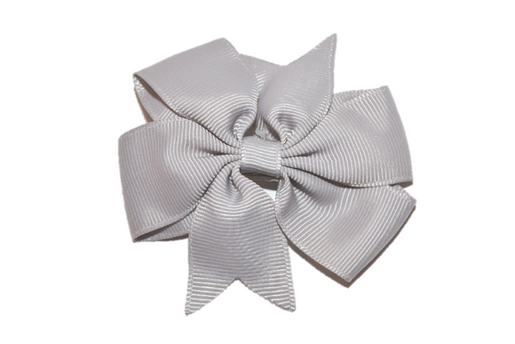 Grey Pinwheel Hair Bow Clip - Dream Lily Designs