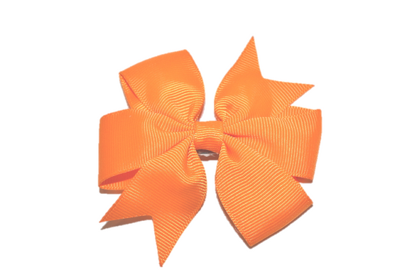 Orange Pinwheel Hair Bow Clip