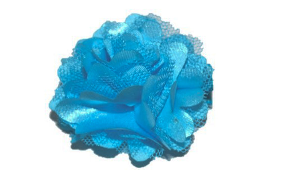Small Silk Puff Flower Hair Clip - Bright Blue - Dream Lily Designs