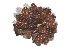 Small Silk Puff Flower Hair Clip - Brown with Black Polka Dots - Dream Lily Designs