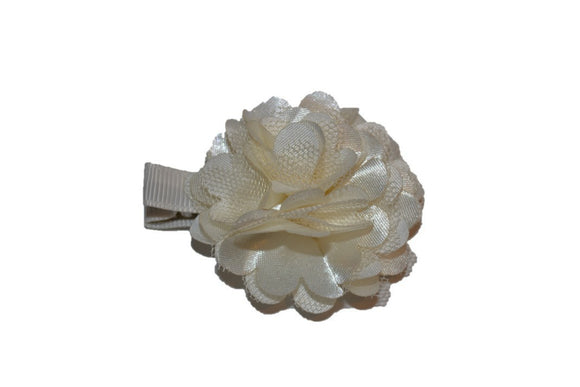 Small Silk Puff Flower Hair Clip Ivory - Dream Lily Designs