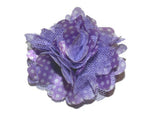 Small Silk Puff Flower Hair Clip - Light Purple with White Polka Dots - Dream Lily Designs