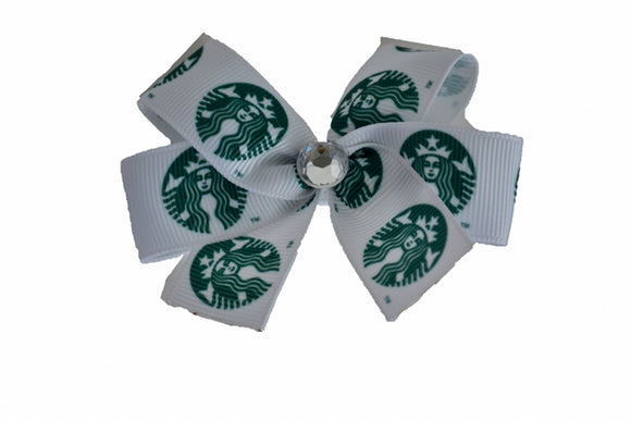 1 Inch Starbucks Pattern Bow (Misc Patterns) - Dream Lily Designs