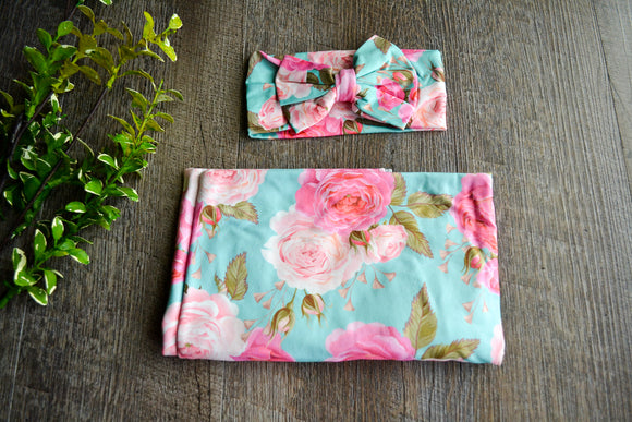 Swaddle Blanket and Headband Set - Aqua and Pink Large Peony Flowers - Dream Lily Designs