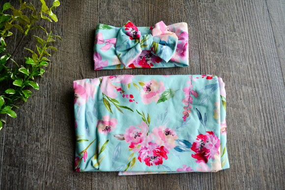 Swaddle Blanket and Headband Set - Aqua Pink Peach Floral - Dream Lily Designs