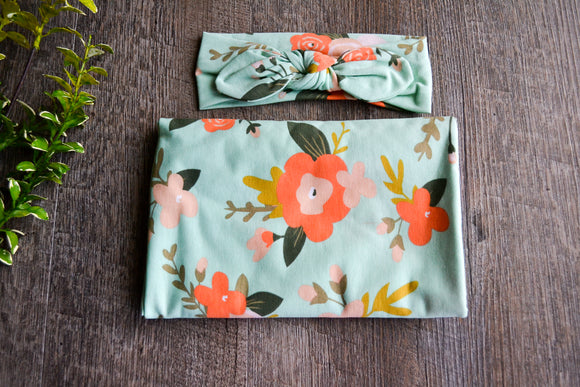 Swaddle Blanket and Headband Set - Mint Green with Orange Peach Flowers - Dream Lily Designs