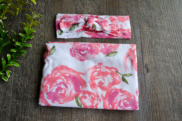 Swaddle Blanket and Headband Set - White with Large Pink Coral Flowers - Dream Lily Designs