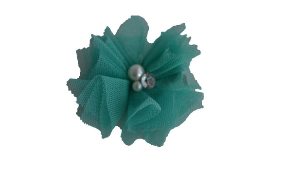 Tulle Crystal Flower Hair Clip - Teal - Dream Lily Designs