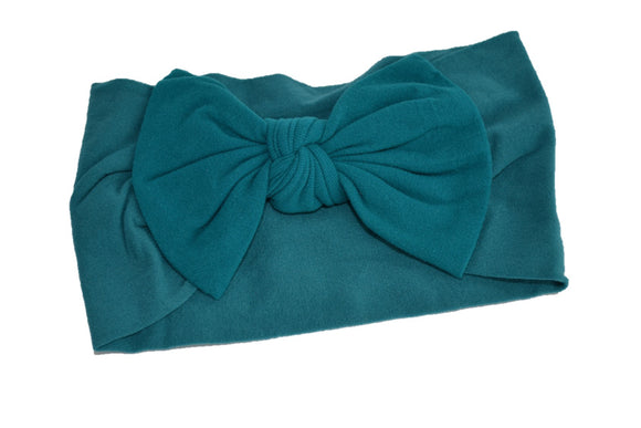 Teal Nylon Bow Knot Baby Wide Headband - Dream Lily Designs