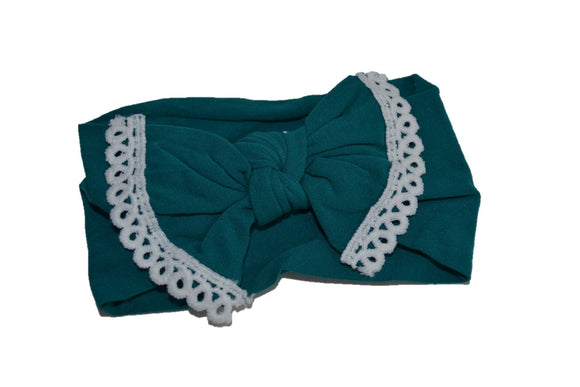 Teal Nylon Bow Knot with Lace Trim Baby Wide Headband - Dream Lily Designs