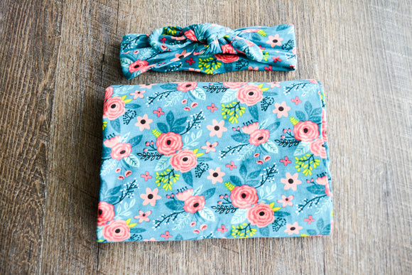 Swaddle Blanket and Headband Set - Teal with Coral Yellow Flowers - Dream Lily Designs