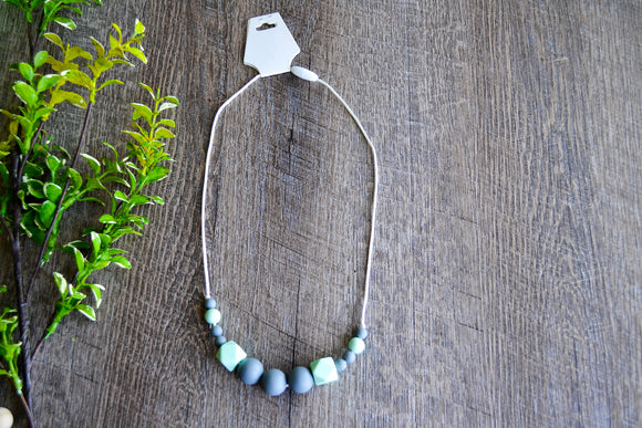 Teething Necklace - White Mint Aqua Grey Hexagon Wood Beads - Dream Lily Designs