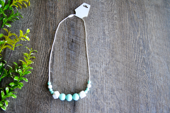 Teething Necklace - White Mint Aqua Hexagon Wood Beads - Dream Lily Designs